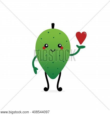 Cute Cartoon Style Smiling Soursop, Guanabana Character Holding In Hand Red Heart. Love, Caring, App