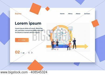Scrum Team Working On Tasks. Cycle Arrow, Development, Process. Business Concept. Vector Illustratio