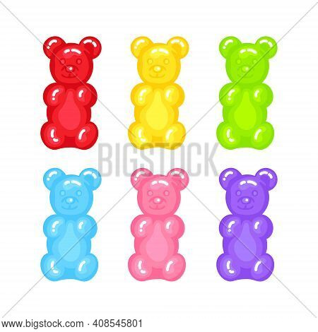 Gummy Bear Jelly Sweet Candy Set With Amazing Flavor Flat Style Design Vector Illustration. Bright C