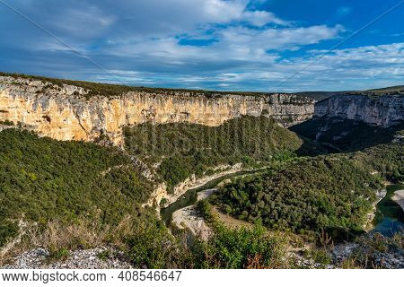 Landscape View Around The Village Bidon And The Ardeche Mountains In France