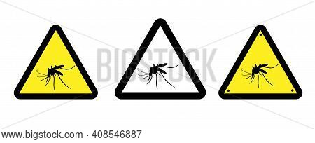 Humor Sign Attention Mosquito. Prohibited. Vector Illustration.