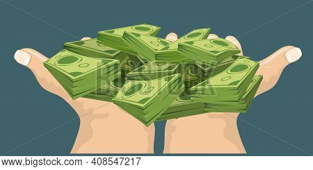 Two Hands Showing Or Holding Cash With Pay Or Buying Gesture. Finance Or Bribe Concept Design. Flat