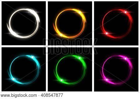 Glowing Neon Circles Set. Silver, Orange, Red, Blue, Green, Pink Round Electric Light Frames With Sp