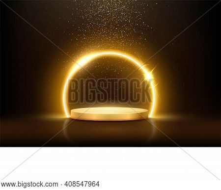 Glowing Neon Golden Circle With Sparkles In Fog On Gold Podium. Abstract Round Electric Light Frame