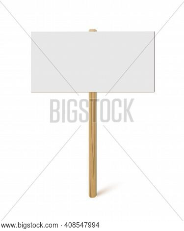 Blank Banner On Wood Stick Mock Up. Vector Empty Board Plank Holder Template. Protest Sign Isolated