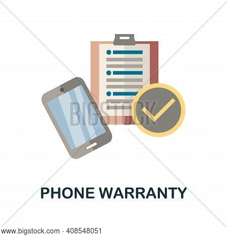 Phone Warranty Flat Icon. Color Simple Element From Phone Accessories Collection. Creative Phone War