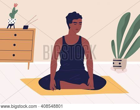 African American Cross-legged Man Meditating Or Yoga At Home. Peaceful Relaxed Guy Practicing Mindfu