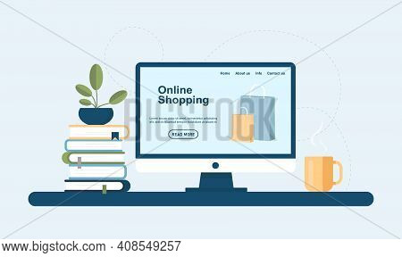 Online Shopping. E-commerce And Digital Marketing Concept. Online Store Design Concept. Monitor Scre