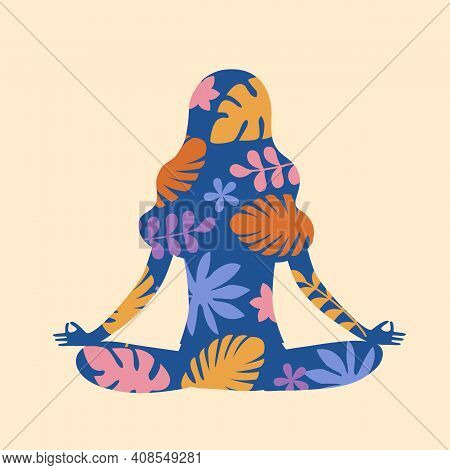 Silhouette Of Meditation Woman With Floral In Flat Design. Peaceful And Calm Relaxation.