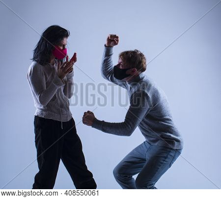 Couple Fight. Couple In Love. Fight. Angry Man And Woman.