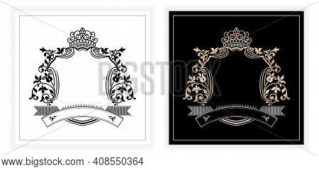 Frames Border Of Floral Designs With Two Variation Colors, Monochrome And Gold Silver Type Isolated