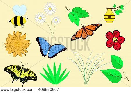 Spring Set. Vector Elements For Design, Spring Paraphernalia. Flowers Bees Leaves Branch Butterfly.