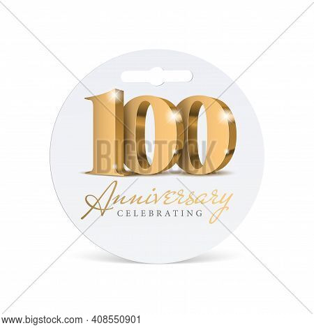 Anniversary 100. Gold 3d Numbers. Celebrating 100th Anniversary Event. Vector Illustration