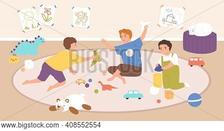 Children Playing Indoors With Toys. Boys Sitting Together On Carpet In Playroom At Home Or Kindergar