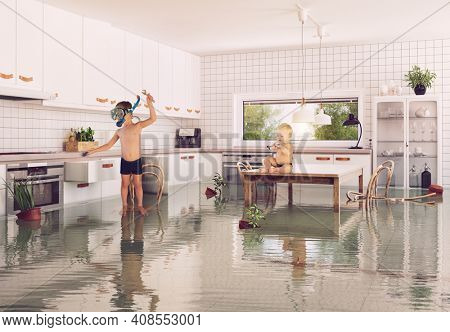 boys and flooding in the room. 3d and photo combination illustration