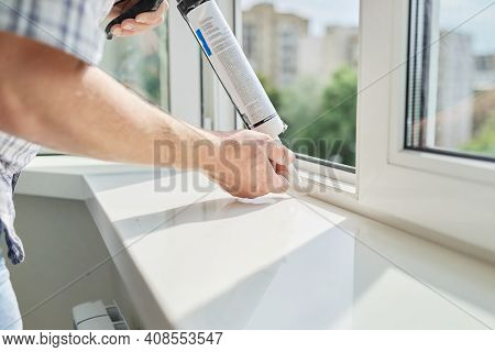 Artificial Stone Window Sill, Installation, Technological Process. Repair, Construction Of House, Ap