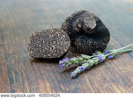 Truffles On An Old Wooden Cutting Board