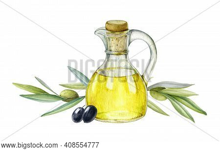 Olive Oil In Glass Jug With Olives And Tree Branches Illustration. Natural Fresh Organic Yellow Vege