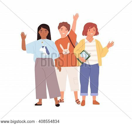 Schoolchildren Waving Hands And Saying Hi Or Bye To School. Diverse Kids Standing Together. Boy And