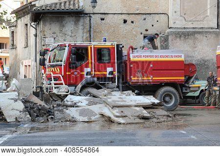Breil-sur-roya, France - October 8, 2020: French Renault Red Fire Truck (sapeurs Pompiers) In Breil-