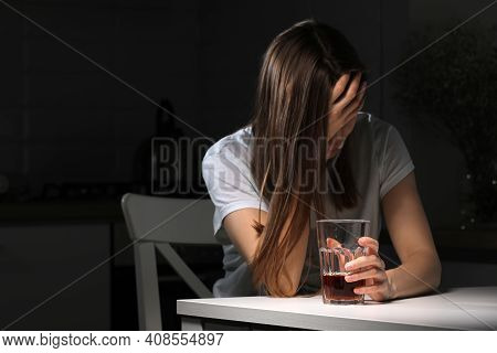 Depressed Sad Young Addicted Woman Feeling Bad Drinking Whiskey Alone At Home, Stressed Frustrated L