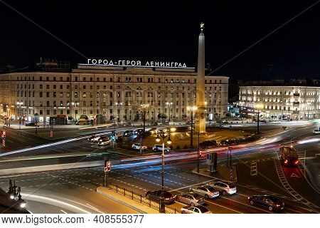 Night View Of The Vosstaniya Square With The Monument. Famous Place In St. Petersburg. Night Shootin