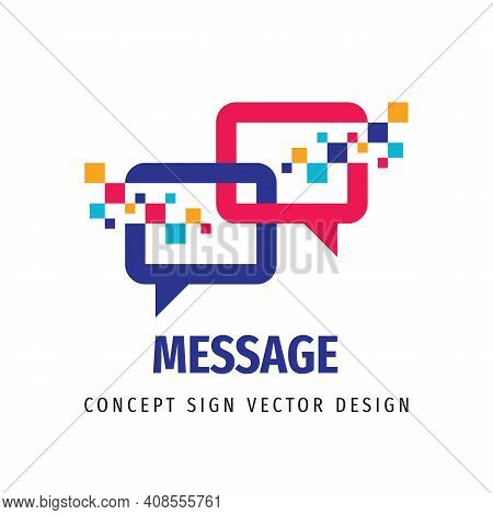 Message Talking - Speech Bubbles Vector Business Logo Concept Illustration In Flat Style. Dialogue I