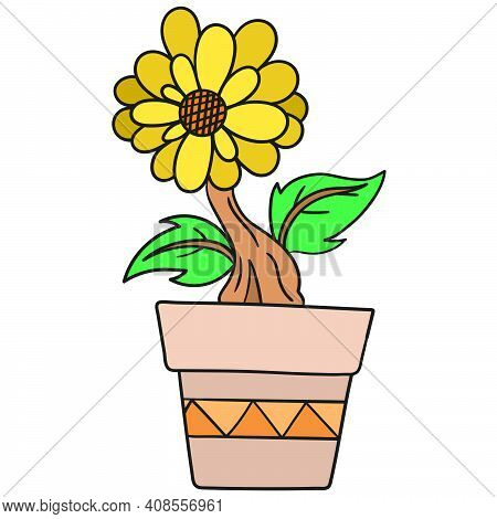 Lush Sunflowers In A Garden Pot. Doodle Icon Image. Cartoon Caharacter Cute Doodle Draw