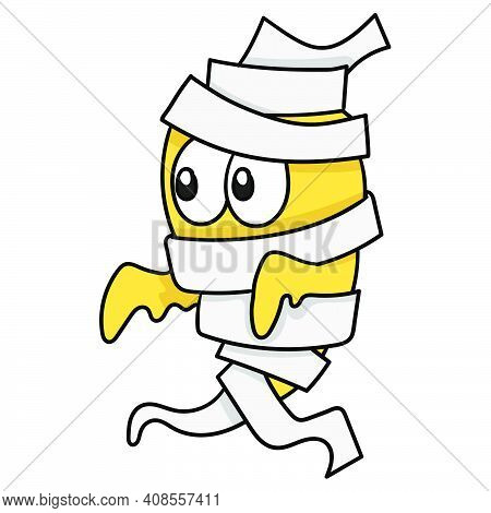 Monster Mummy Wearing Bandage. Doodle Icon Image. Cartoon Caharacter Cute Doodle Draw