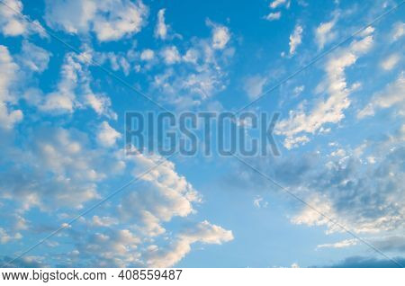 Sunset sky background, scenic vast sky landscape panoramic scene with dramatic evening clouds.Sky landscape. Sky background. Dramatic blue sky background, vast sky landscape panoramic scene, sunny sky landscape view. Blue sky background, vast sky landscap