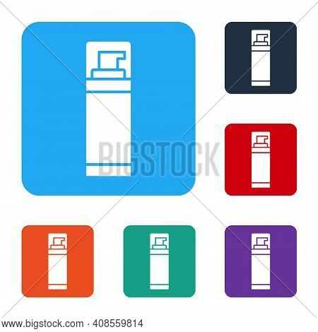 White Shaving Gel Foam Icon Isolated On White Background. Shaving Cream. Set Icons In Color Square B