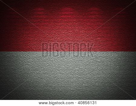 Monegasque Flag Wall, Abstract Grunge Background