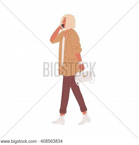 Modern Woman Walking And Talking On Mobile Phone. People Calling And Speaking By Smartphone. Colored