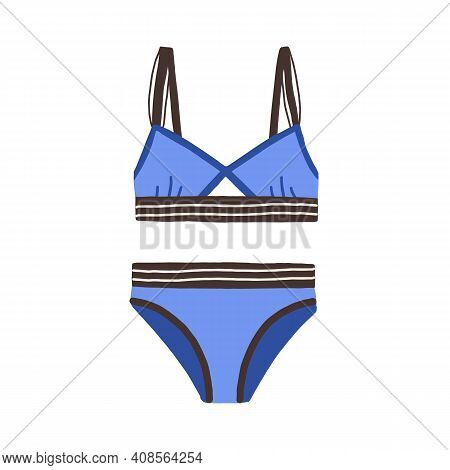 Female Sports Swimsuit. Blue Strapped Women Swimwear With Elastic Wireless Bra. Bikini Top And Botto