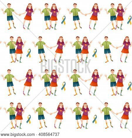 Smiling Boy And Girl With Down Syndrome. World Down Syndrome Day. Seamless Background Pattern. Vecto