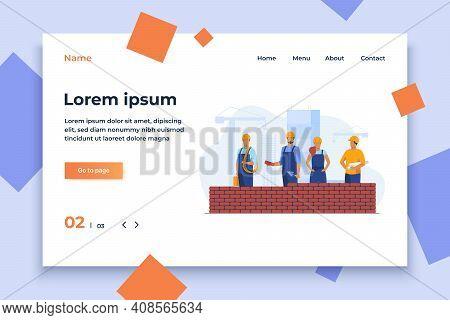 Professional Builders Making Brick Wall. Site, Helmet, Constructor Flat Vector Illustration. Constru