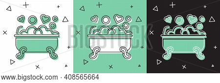 Set Romantic In Bathroom Icon Isolated On White And Green, Black Background. Concept Romantic Date.