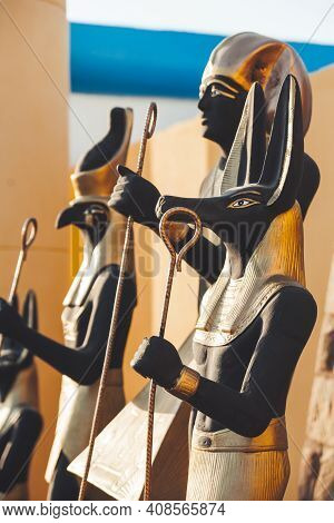 Statues Of Egyptian Gods. Interior Decorations With Golden Parts. Hurghada, Egypt.