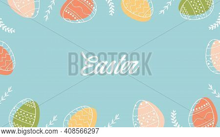 Festive Frame Template With Trendy Outlined Geometric Pattern On Easter Eggs. Decorative Horizontal