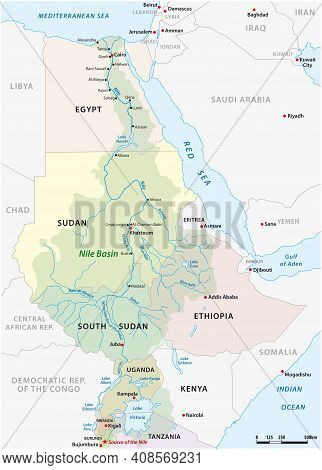Vector Map Of The Nile River Basin