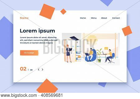 People Studying At Online School In Office Or At Home. Service, Literature, Study Concept. Vector Il