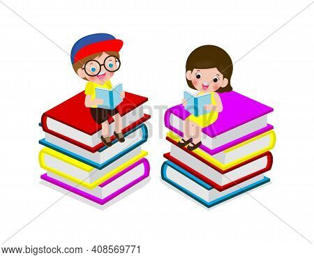 Set Of Cute Little School Children Sitting And Reading A Book On Stack Of Books, Happy Pupil Reading