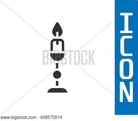 Grey Burning Candle In Candlestick Icon Isolated On White Background. Old Fashioned Lit Candle. Cyli