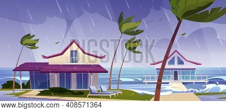 Sea Storm With Rain And Tornado On Tropical Beach With Bungalows And Palm Trees. Vector Cartoon Land