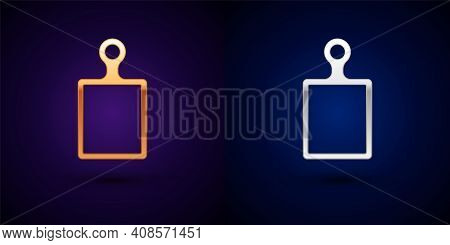 Isometric Cutting Board Icon Isolated On Orange And Pink Background. Chopping Board Symbol. Hexagon
