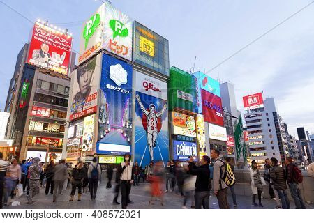 Osaka, Japan - April 21 : The Glico Man Light Billboard And Other Light Displays On April 21,2015 In