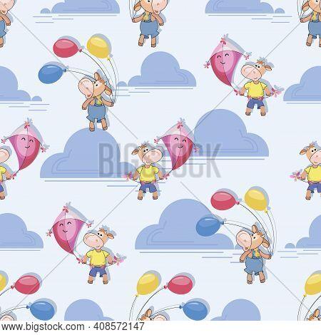 Cute Calf. Pink Kite, Multicolored Balloons. Little Bull Holding Flying Kite And Air Balloons. Makar