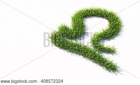Concept or conceptual green summer lawn grass symbol shape isolated white background, sign of libra zodiac sign. 3d illustration symbol for  esoteric, the mystic, the power of prediction of astrology