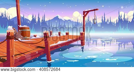 Wooden Pier On Winter Lake, Pond Or River Landscape, Wharf With Ropes, Lantern, Barrel And Sacks On
