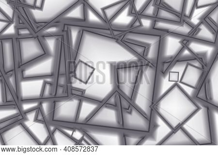 Abstract Chaotic Geometric Cubic Pattern In Monotone Color, Illustration